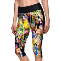 Sexy Hot women's 7 point pants Fashion Snow White fairy tale fantasy digital print women high waist Side pocket phone pants
