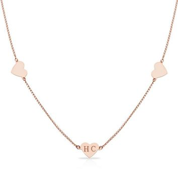 14K Solid Yellow/Rose Gold Personalized Custom Engraving Initial Name Necklace Three Hearts 14 15 16 Inches Choker Necklaces