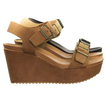 Cuddle01 Two Layered Platform Wedge Open Sandal w Thick Straps & Lug Sole