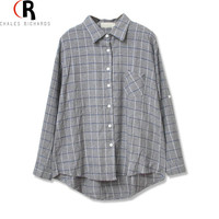 Women Loose Gray Gingham Plaid Blusas 2016 Autumn Fashion Brand Design Long Sleeve Collar Buttons Casual Office Loose Shirt