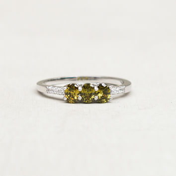 Petite 3-Oval Ring - Silver + Olive