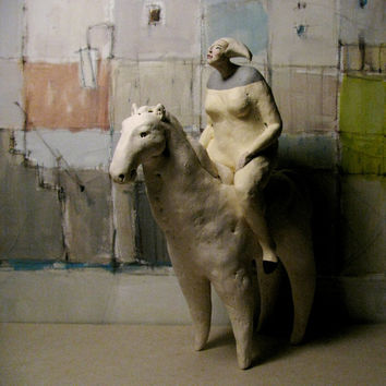 Small Woman With Her White Horse, Amazon / Two Ceramic Sculptures/ Unique Standing Figures