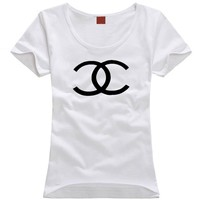 """Chanel"" Unisex All-match Simple Casual Letter Print Couple Short Sleeve Bodycon T-shirt Top Tee"