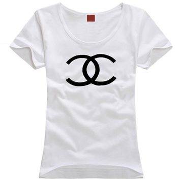 """""""Chanel"""" Unisex All-match Simple Casual Letter Print Couple Short Sleeve Bodycon T-shirt Top Tee"""