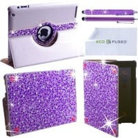 Eco-Fused 360 Rotating Faux Leather Bling Case for Apple iPad 4, 3, 2 / Bling Stylus Pen / Long Stylus Pen / Microfiber Cleaning Cloth / Cute Rhinestone Cover Perfect for Girls (Purple)