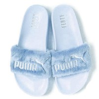 Puma X Rihanna Leadcat Fent Lover Fur Slipper Shoes Light blue