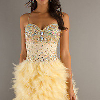 Short Embellished Feather Dress by Dave and Johnny