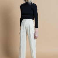Vintage 70s Ivory White Cotton Twill High Waist Pleated Trousers | XS