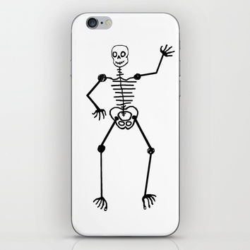 Black Skeleton on white iPhone Skin by Zia