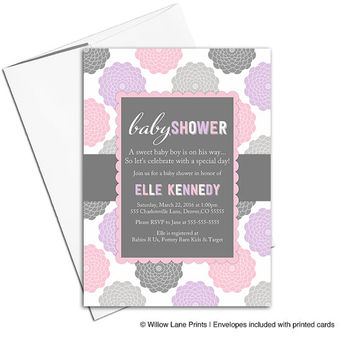 Digital baby shower invitations for a girl | flower baby shower invites | pink gray purple baby shower | printable or printed - WLP00776