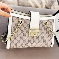 GUCCI New fashion more letter print leather shoulder bag crossbody bag White
