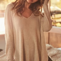 Out From Under Oversized Cozy Thermal V-Neck Top   Urban Outfitters