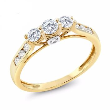 10K Yellow Gold Diamond Engagement Ring 3-Stone Created Moissanite 0.56 cttw