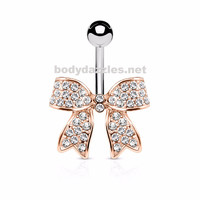 Rose Gold Bow Crystal Paved Ribbon Surgical Steel Belly Button Navel Rings 14ga