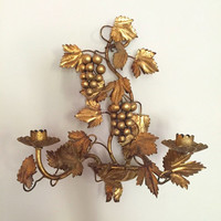 Italian Florentine Style Gold Wall Sconce, Single Wall Sconce, Grape and Leaf Pattern, Hollywood Regency, French Country, Cottage Chic