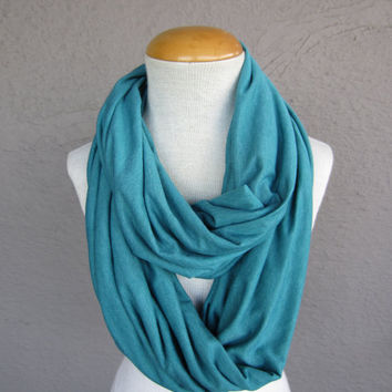 Light Teal Oversized Infinity Scarf - Large Turquoise Circle Scarf - Soft Knit Cowl