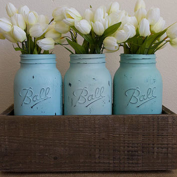 3 Large Hand Painted Mason Jars with Wood Flower Box, Wedding Mason Jar Rustic Shabby Chic Centerpiece,  Aqua Teal Blue Green Sea Glass Jars