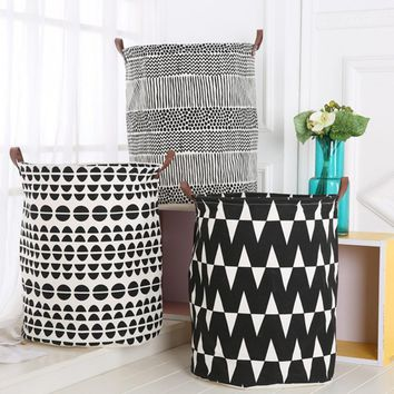 40*50CM Foldable Canvas Storage Bucket Stand Washing Clothes Laundry Storage Basket With Handles Kids Toys Barrel Storage Basket