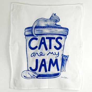 Cats are my Jam Tea Towel