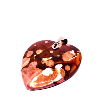 Womens Dragon Vein Peach Onyx Agate Heart Pendant with Charm & Chain