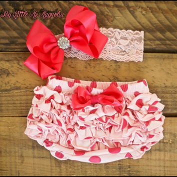 """Baby Diaper Cover and Lace Headband Set, In Pink, Shabby Chic, Lace, Clothing Set """"La Tee Dottie"""", Toddler Girls"""