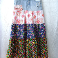 Upcycled Eco CHIC Jeans Sexy Long Skirt Patchwork Gypsy Pink Floral Polka Dots Ruffles White Lace Gem Size S By Cvetinka