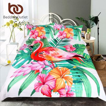 Flamingo Bedding Set Tropical Plant Quilt Cover Flower Print Pink and Green 3pcs
