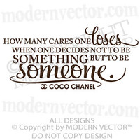 Coco Chanel Quote Vinyl Wall Decal Lettering TO BE SOMEONE bedroom home decor