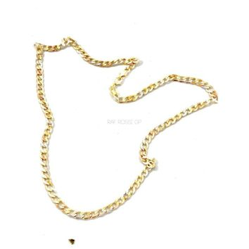 Tri Color Curb-Cuban Links 5mm 18Kts Gold Plated Chain
