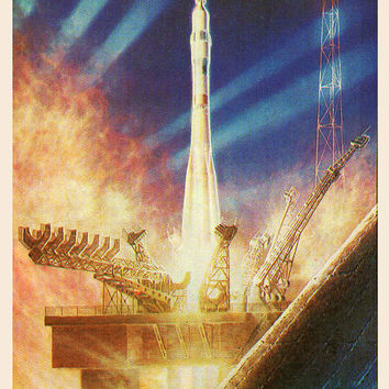 Night Launch (Artist A. Sokolov) Vintage Postcard - Printed in the USSR, «The Fine Arts», Moscow, 1980