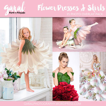 FLOWER Dresses and Skirts, Photoshop Overlays, dress overlays, flower overlay, flower pngs, PNG files for photographers, Photoshop overlay