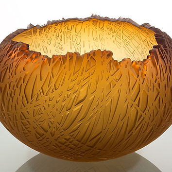 Amber Bowl by Nick Chase: Art Glass Bowl | Artful Home