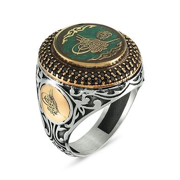 Ottoman sultan sign calligraphy with green and blue enamel 925k sterling silver mens ring