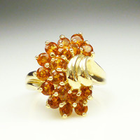 Vintage Ring 10K Gold Orange Citrine Cluster Cocktail Jewelry