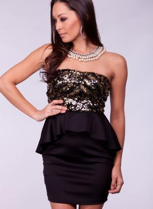 Black Strapless Peplum Dress with Gold Sequin Top
