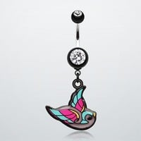 Vibrant Bird Belly Button Ring