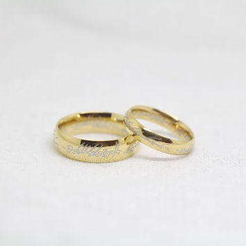 2pcs-Free Engraving,Lord of the Rings, Frosted Ring,promise ring,couple Rings, Lovers rings
