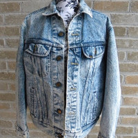 Vintage Lee Acid Wash Denim Jacket PATD 153438 Mens Medium / Womens Oversized Boyfriend Fit USA Made