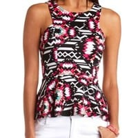 Tribal Print Racer Front Peplum Top by Charlotte Russe - Multi