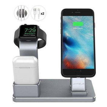 ONETOW UMTELE Apple Watch Stand Apple Watch Charging Stand AirPods Stand Charging Docks Holder for Apple Watch Series 3/2/1/ iPhone X/8/8Plus/7/7 Plus /6S /6S Plus/ AirPods/ iPad, Space Gray