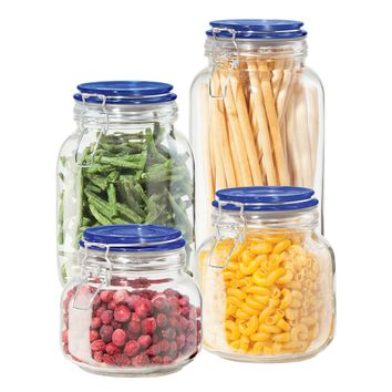 Set of 4 Blue top round glass canisters with airtight lids with clamps and silicone gaskets