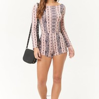 Twist-Back Ornate Print Romper