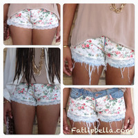 Low rise Frayed or Not floral print and lace cut off shorts.