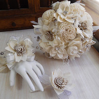 Roaring 20's Gatsby Style Bouquet, Sola Flowers, Satin, Organza, Rhinestones, Ivory Pearls, Silver Pearls. Made to Order.