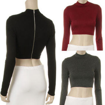 Fashion Crop Top Turtleneck Long Sleeve Back Zipper Yoga Dance Trendy Apparel