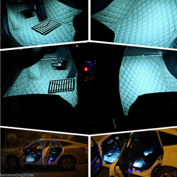 1 SET Car Accessory 12V 2 x 9LED Interior Decorative Atmosphere Light Lamp Charge LED Interior Floor Decoration Lights