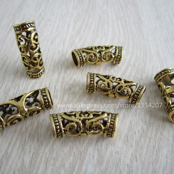 Free Shipping 10Pcs/Lot  Antique Gold hair braid dread dreadlock beads cuff approx 7mm hole