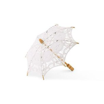 White Battenburg Lace Parasol - Small (Pack of 1)