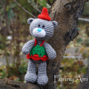 Christmas gift for kids Christmad bear Crochet Bear Plush Bear Amigurumi Kids gift Stuffed Animal artist teddy bear New Year decor for girl
