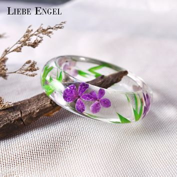 LIEBE ENGEL Fashion Clear Resin Bangle Bracelet With Real Dried Flower Leaf Cuff Indian Jewelry Love Bracelet Women High Quality